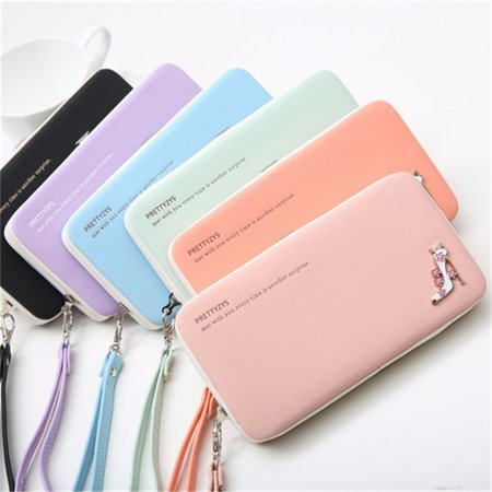 Fashion Woman High Heels Functional Leather Purse Phone money case Wallet Case Cover Clutch Bag  universal for under 5.5 Inch Smartphone Lady Gift ()