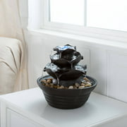 Tabletop water fountains indoor water fountain with led lights lighted three tier soothing cascading tabletop fountain with rocks workwithnaturefo