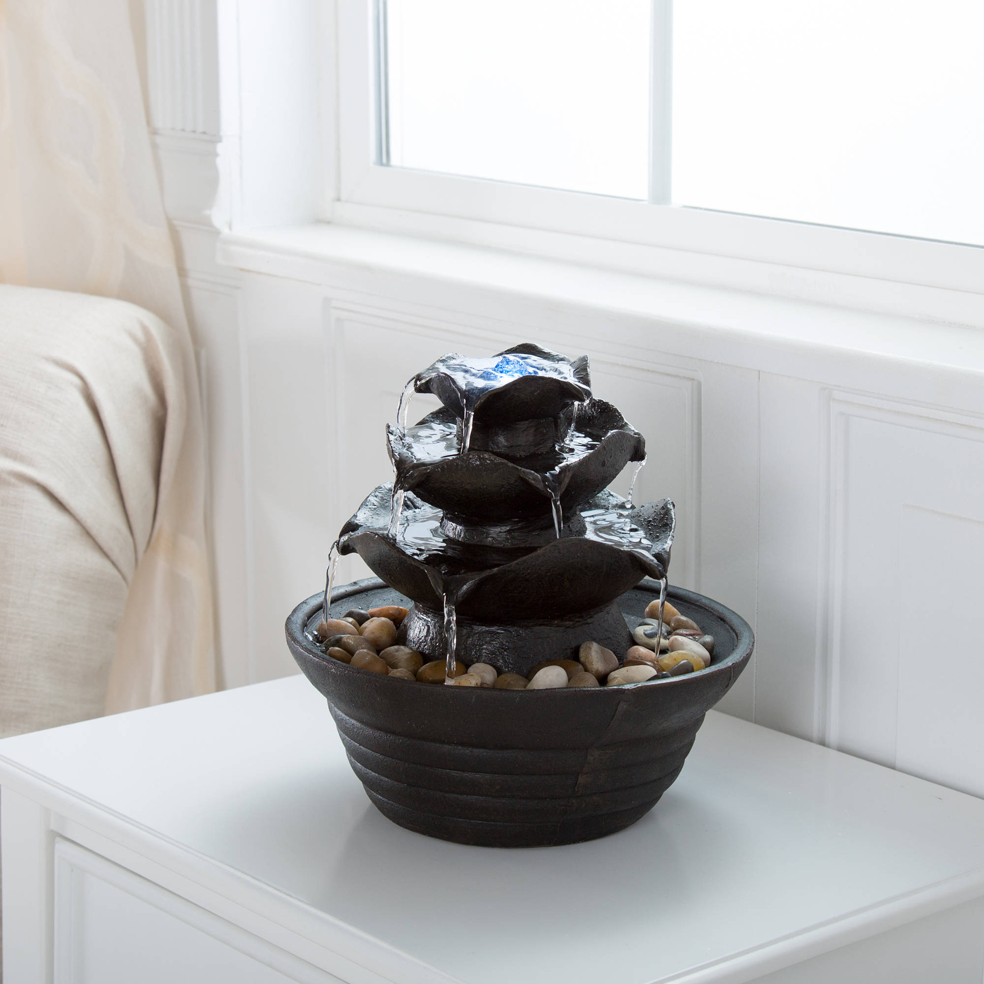Indoor Water Fountain With LED Lights  Lighted Three Tier Soothing  Cascading Tabletop Fountain With Rocks