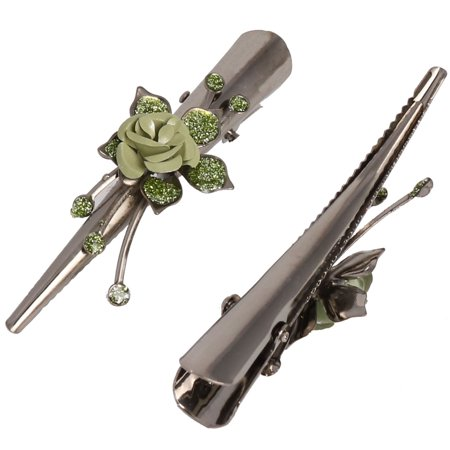 Ladies Party Metal Rose Decor Hairpins Hair Clip Green Titanium Color 2pcs