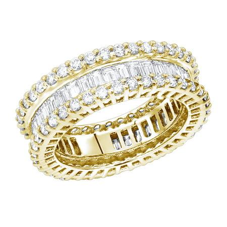 Luxurman 18K Unique Designer Natural Baguette Round Cut Diamond Eternity Ring (Yellow Gold Size 10)