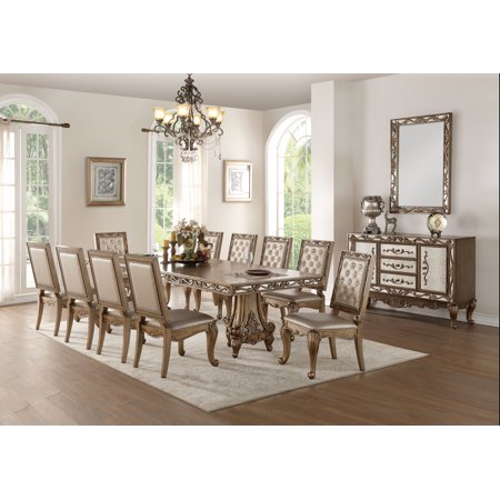ACME Orianne Formal Dining Table in Antique Gold Finish