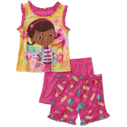 Disney Baby Girls' Doc McStuffin 3 Piece Tank and Short Pajama Set
