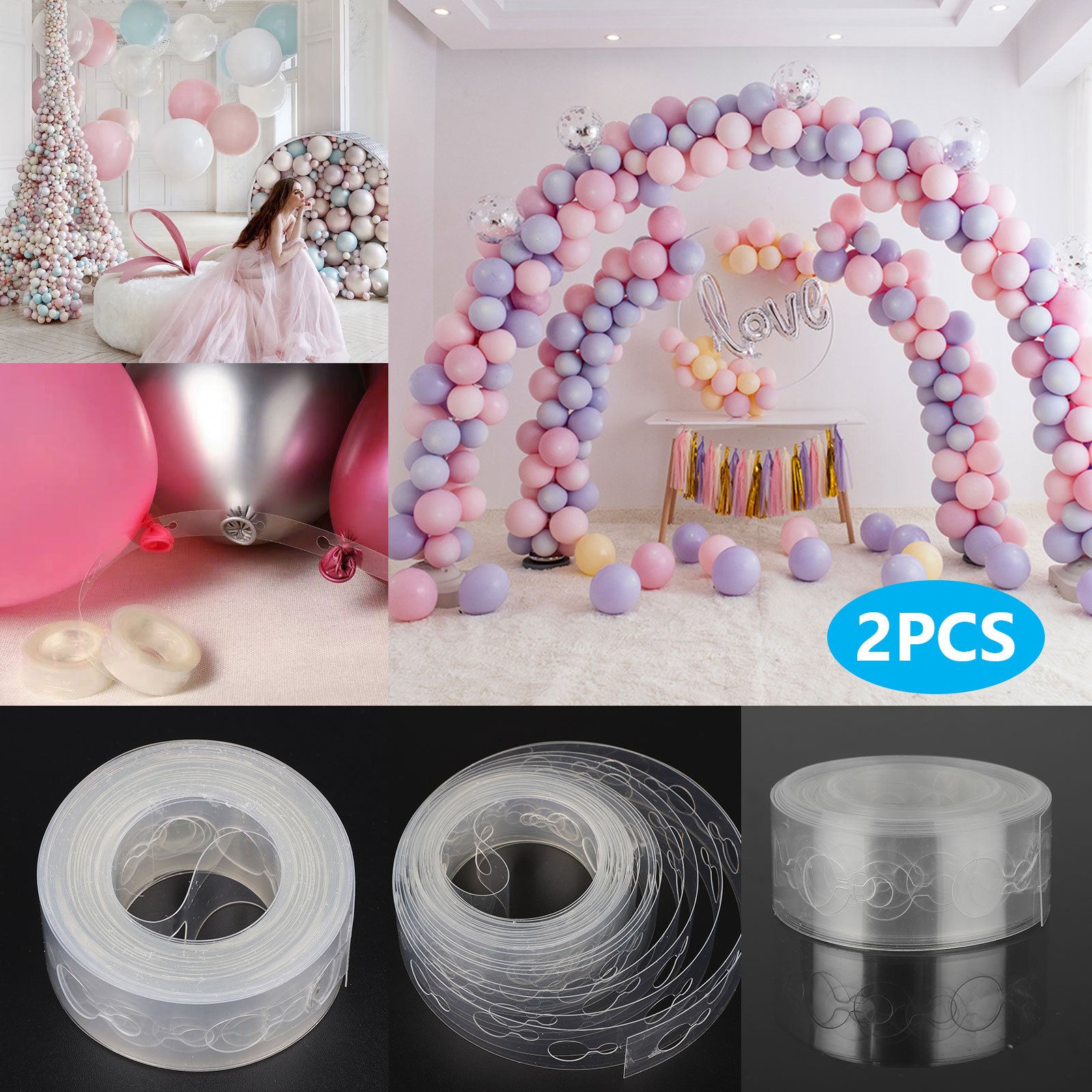 16 Feet Party Decoration Balloons Strips DIY Garland Connect Strings Tape Arch