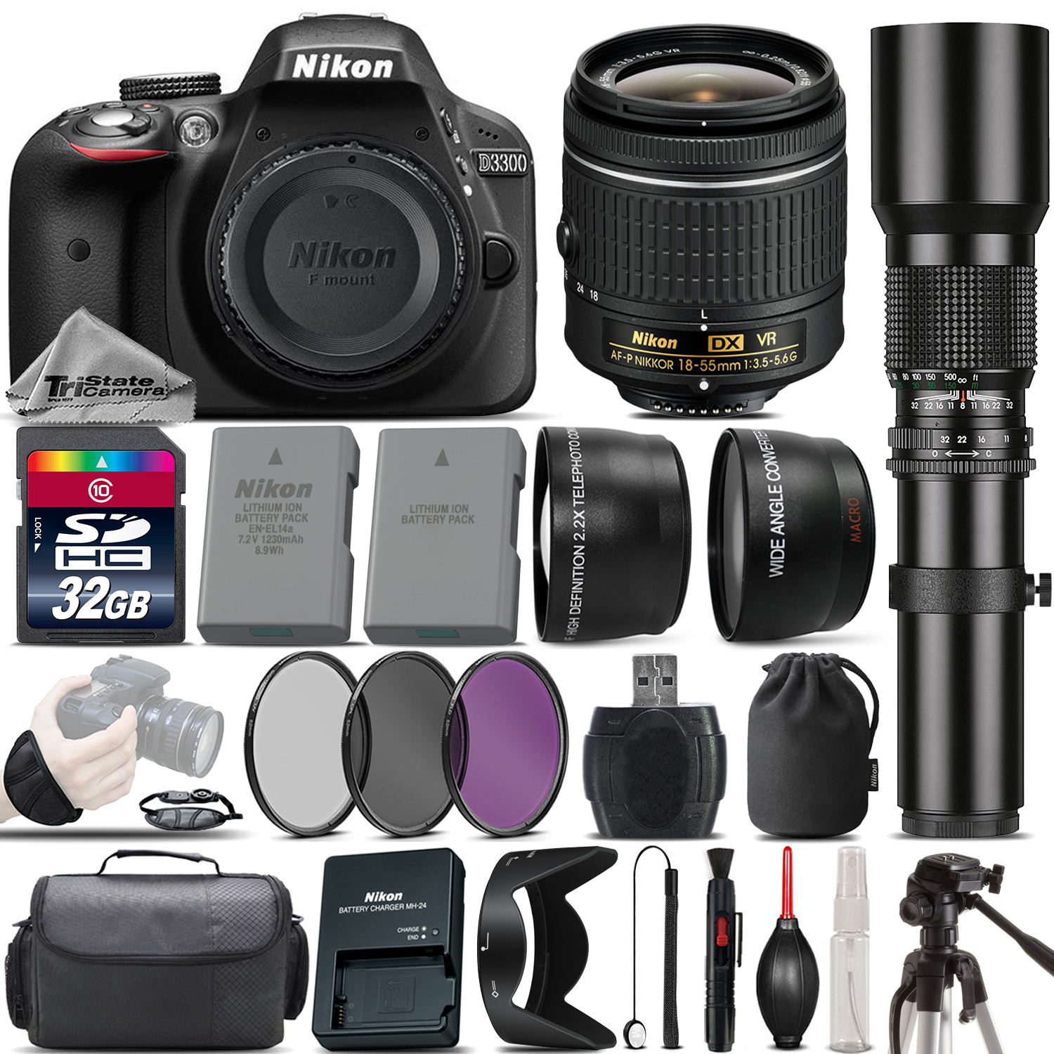 Nikon D3300 DSLR Camera + Nikon 18-55mm VR Lens + 500mm Telephoto Lens -32GB Kit