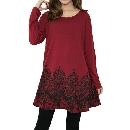 Nlife Women's Scoop Neck A-Line Floral Pattern Hem Tunic Top ()