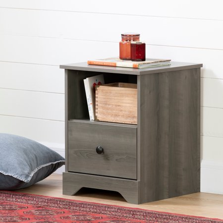 South Shore Volken 1-Drawer Nightstand, Gray (South Shore Shaker Natural)