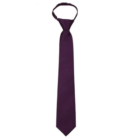 Men's Solid Color Zipper Necktie Ties - Many Colors Available](Thin Red Tie)