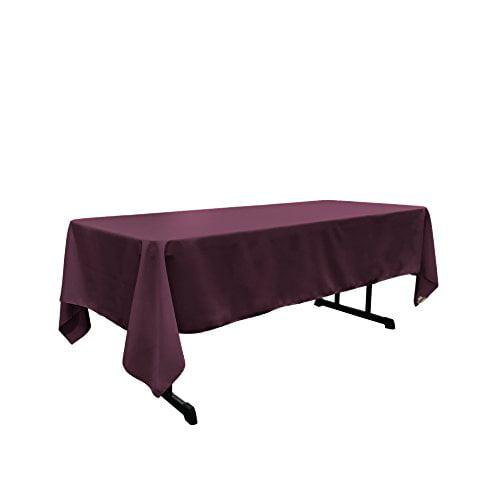 "LA Linen Polyester Poplin 60 by 108"" Rectangular Tablecloth, Eggplant by LIVEDITOR LIGHTING"
