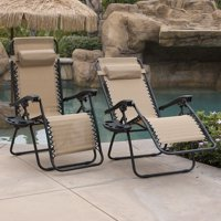 Belleze 2-Pack Zero Gravity Chairs Patio Lounge + Cup Holder/Utility Tray (TAN)