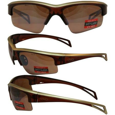 - Global Vision Top Gun Sunglasses Brown Frame Driving Mirror Lens ANSI Z87.1+