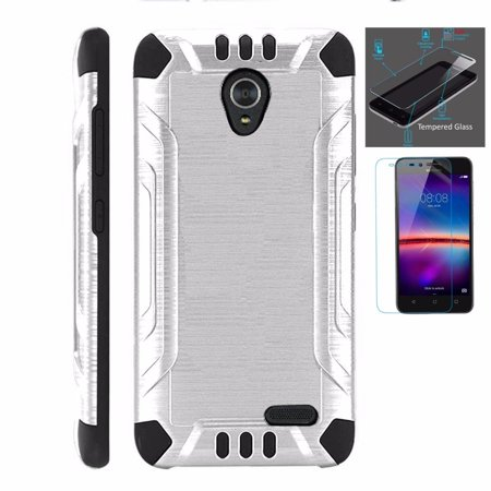 For Cricket Wave Case + Tempered Glass Dual Layer Brushed Texture Hybrid Combat Phone Cover (Silver/Black)