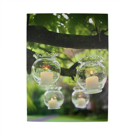 Northlight Seasonal 4 LED Lighted Garden Party Hanging Candle Photographic Print on Canvas
