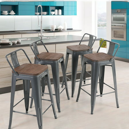 Mf Studio 24 Inch Metal Bar Stools With, 24 Inch High Dining Chairs