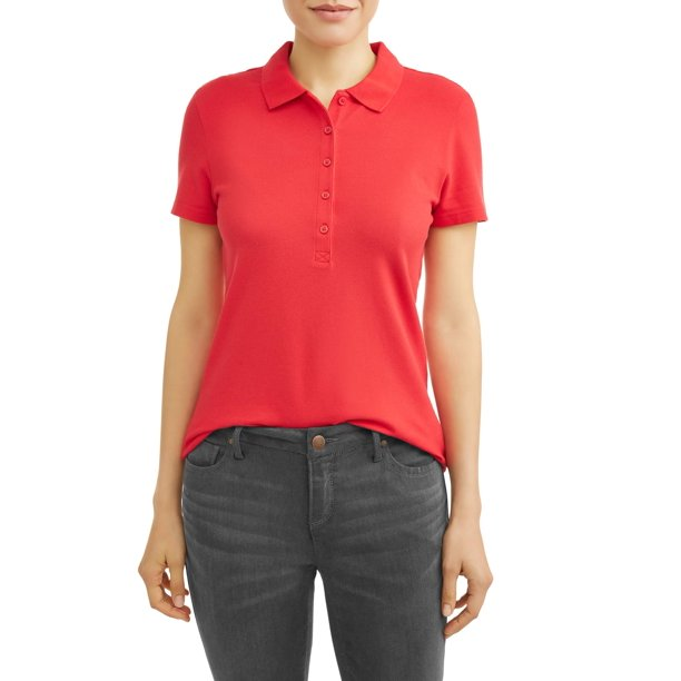 Time and Tru Women's Essential Short Sleeve Polo Shirt