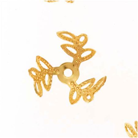 Bright Gold Plated Filigree Open Leaf Bead Caps 12mm (12) (Filigree Bread)