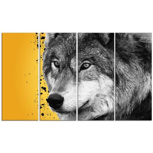 Design Art Metal 'Gazing Wolf' 4 Piece Graphic Art Set