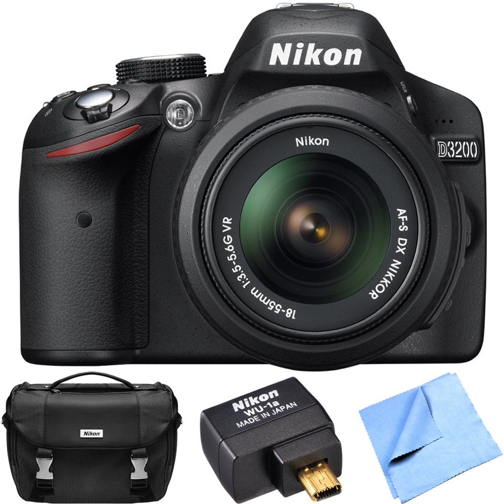Nikon D3200 24.2 MP CMOS Digital SLR Camera with 18-55mm VR Lens Refurbished Bundle