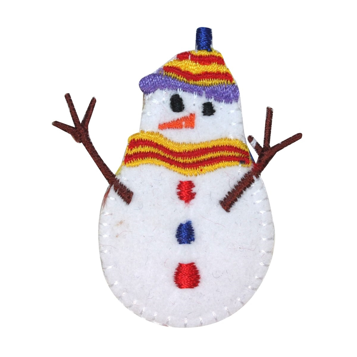 Christmas Tree Patch: ID 8150B Snowman Ornament Patch Christmas Tree Embroidered