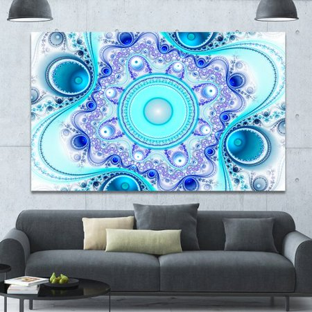 Design Art 'Turquoise Wavy Curves and Circles' Graphic Art on Wrapped Canvas ()