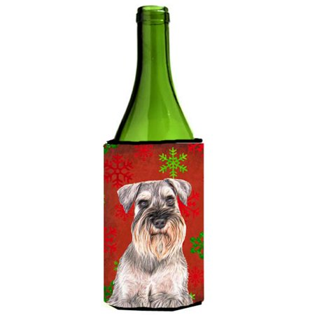 Carolines Treasures KJ1186LITERK Red Snowflakes Holiday Christmas Schnauzer Wine bottle sleeve Hugger - image 1 de 1