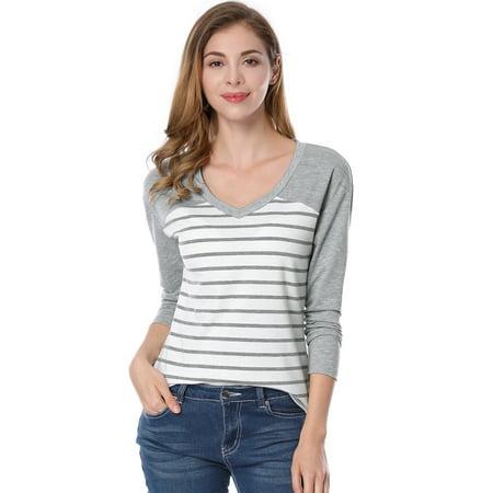 Allegra K Rayures col V Dame Couleur Contraste T-Shirt - image 7 de 7