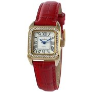 Womens 14K Gold Plated Square Tank Petite Small Red Leather Band Luxury Dress Watch 3052RD