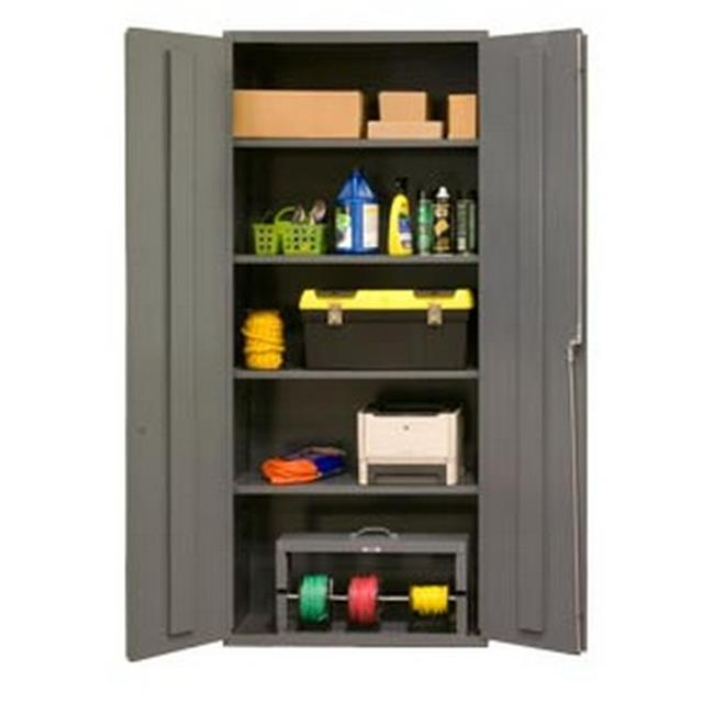 36 in. 16 Gauge Flush Door Style Lockable Storage Cabinet with 14 Adjustable Shelves, Gray
