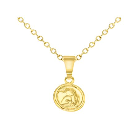 18k Gold Plated Tiny Little Guardian Angel Pendant Necklace Baby Birth Gift 16