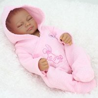 11 inch Mini Black Cute Alive Newborn Sleeping Baby Dolls Silicone Full Body African American Washable for Girl by Terabithia
