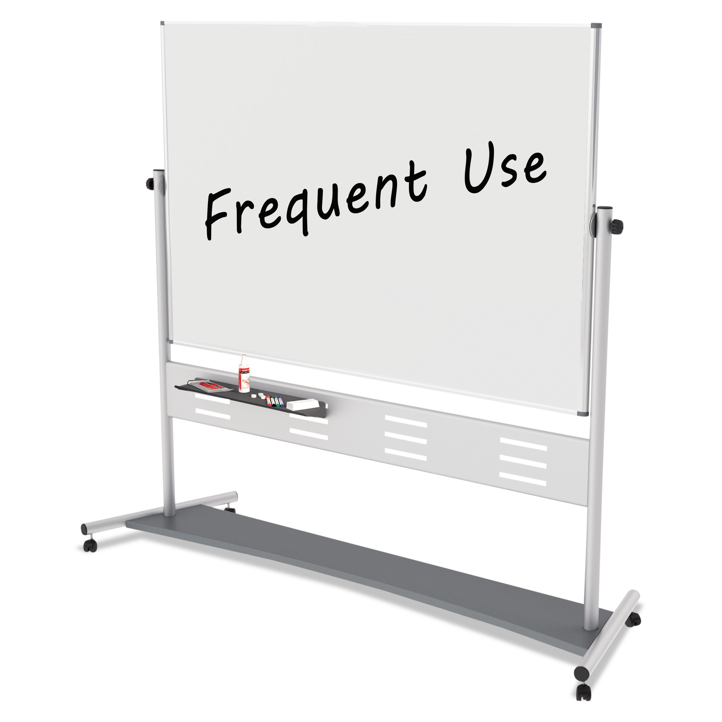"MasterVision Magnetic Reversible Mobile Easel, 70 4/5w x 47 1/5h, 80""h, White/Silver"