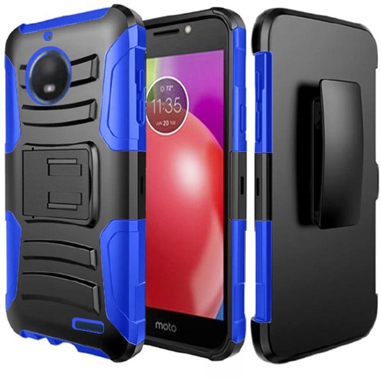 Motorola Moto E4 phone case by HR Wireless Dual Layer Hybrid Stand Rubber Coated Hard Plastic/Soft Silicone Case Cover Holster For Motorola Moto E4, Black/Dark blue