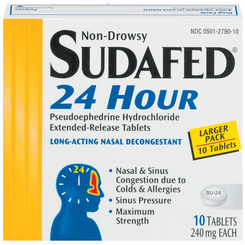 Sudafed Non-Drowsy, 24 Hour Long-Acting Nasal Decongestant Tablets, 240mg, 10 count