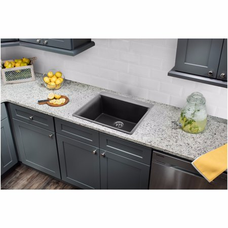 "Drop In Single Bowl - Cahaba CA344SB24-B Quartz Topmount / Drop In Single Bowl Kitchen Sink, 23 5/8"" x 20 7/8"" with Twist and Lock Strainer"