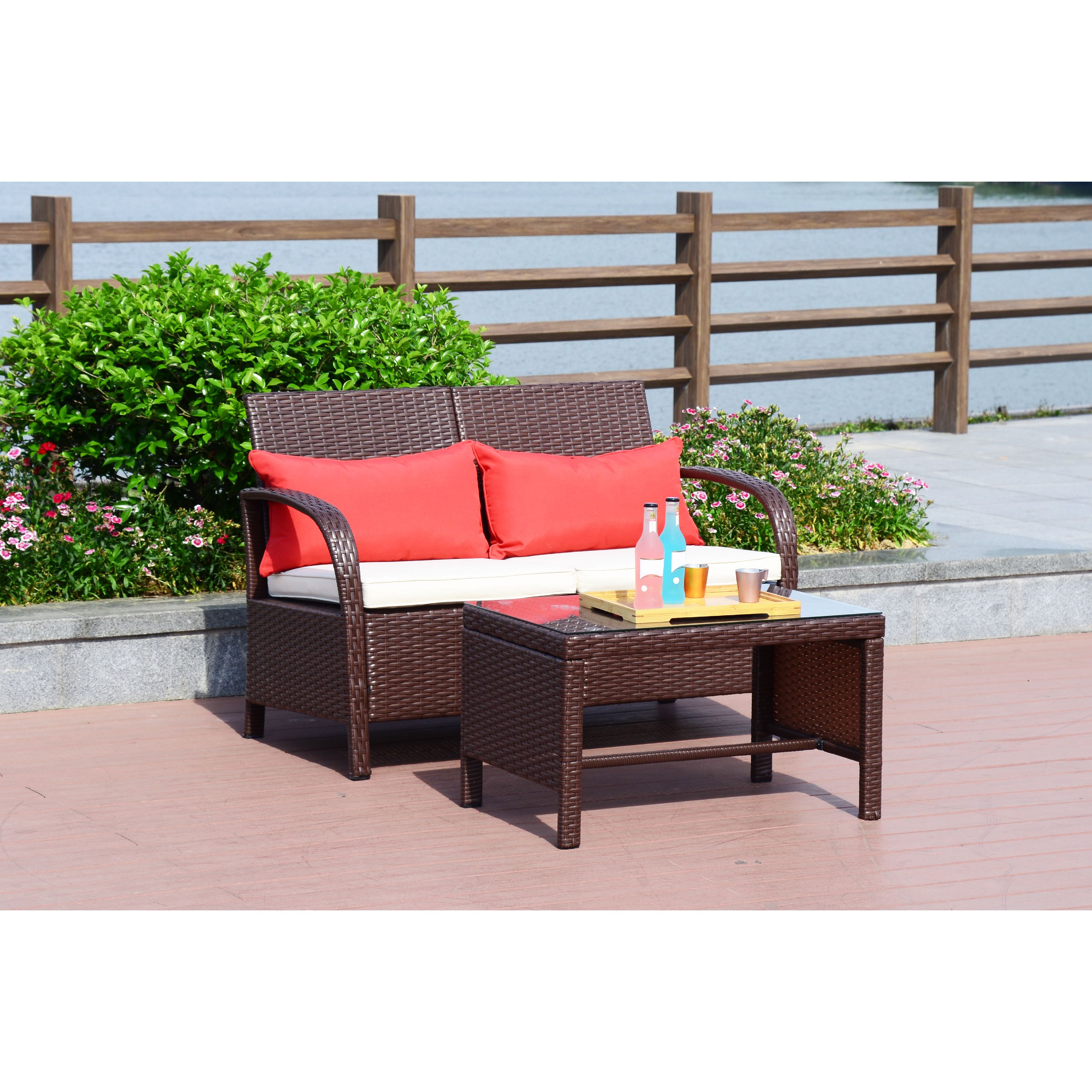Cloud Mountain 2 PC Rattan Loveseat Sofa Furniture Bistro Set Outdoor Wicker Patio Garden Loveseat Glass Top Table