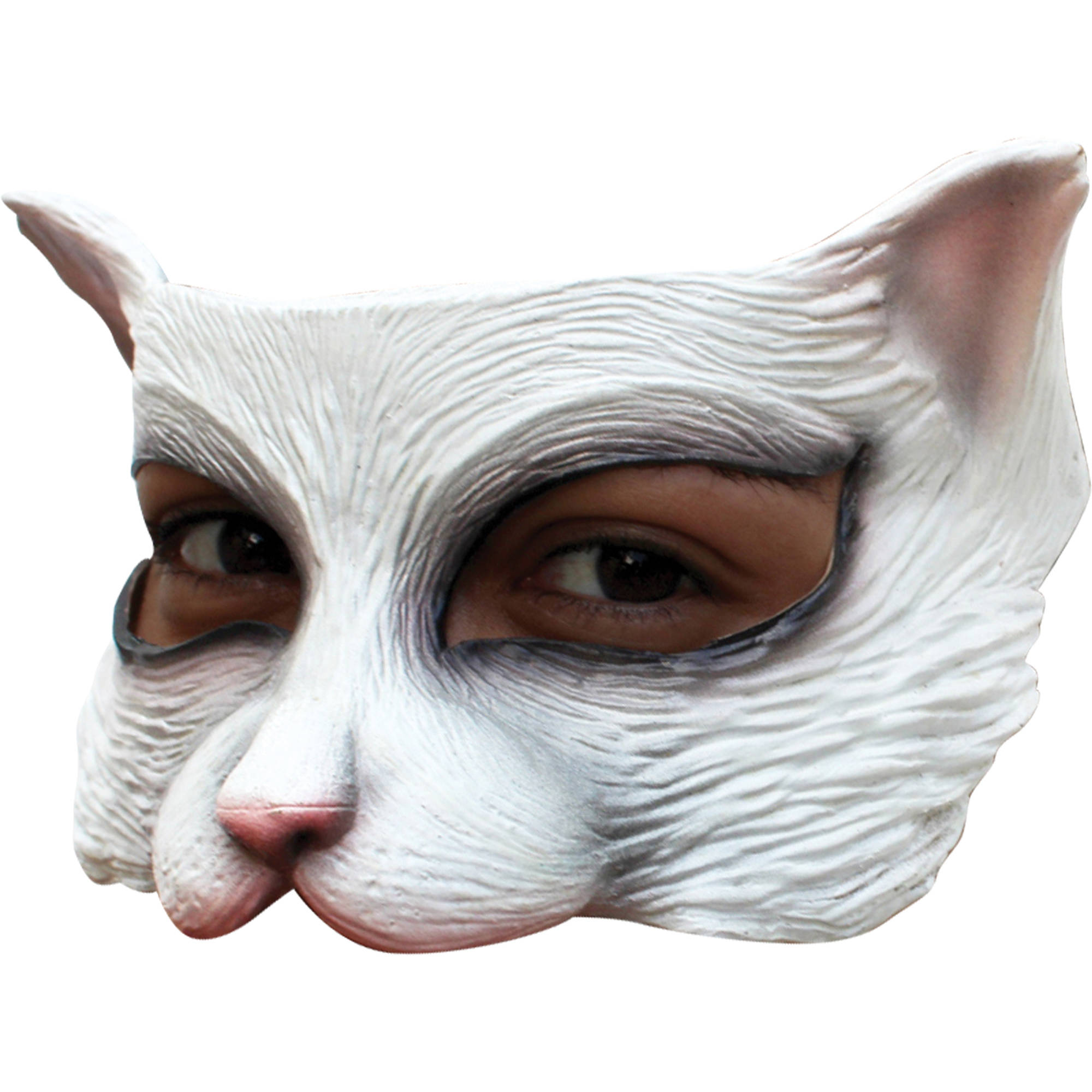 White Kitty Latex Half Mask Adult Halloween Accessory