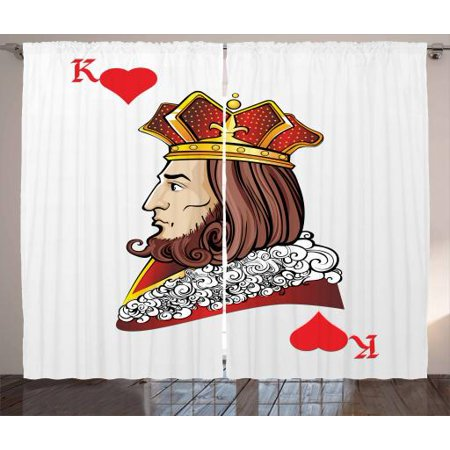 Casino Curtains 2 Panels Set, King of Heart Deck Romantic Graphic Play Card Design Gambling Good Luck Chance Theme, Window Drapes for Living Room Bedroom, 108W X 108L Inches, Multicolor, by Ambesonne ()