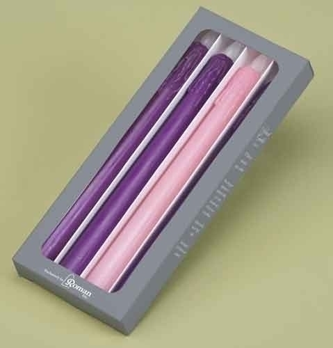 Pack of 4 Battery Operated LED Christmas Advent Taper Candles 10.75""