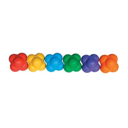Sportime React-2-Balls with Erratic Bounce, Assorted Colors, Set of 6 - Bouncy Balls Bulk