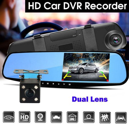 Dual Lens Car DVR Reverse + Rear View Camera Kit HD LCD Mirror Monitor Video Recorder Night Vision Dash