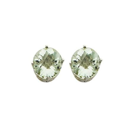 14k White Gold Basic Round Solitaire Green Quartz Stud Earrings