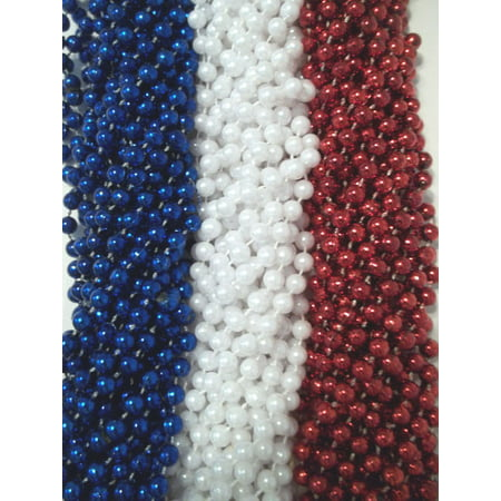 36 Red White Blue Memorial 4th July Mardi Gras Beads Party Favor Necklaces 3 Doz