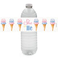 Ice Cream Party Water Bottle Labels 24ct - What's The Scoop Ice Cream Baby Gender Reveal Party Supplies Decorations Favors - 24 Count Sticker Labels