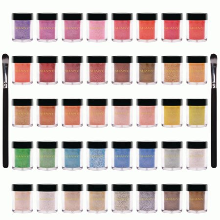 SHANY Loose Pearl Eye Shadow Glitter in Favorite Colors with Two Shadow Brushes - Set of 40 (Pearl Eye Color)