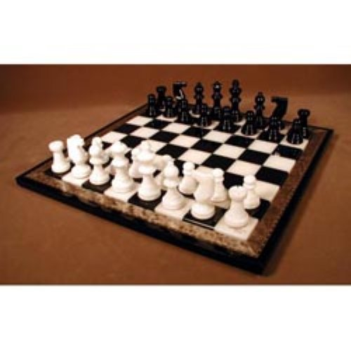 Alabaster Chess Set with Inlaid Board