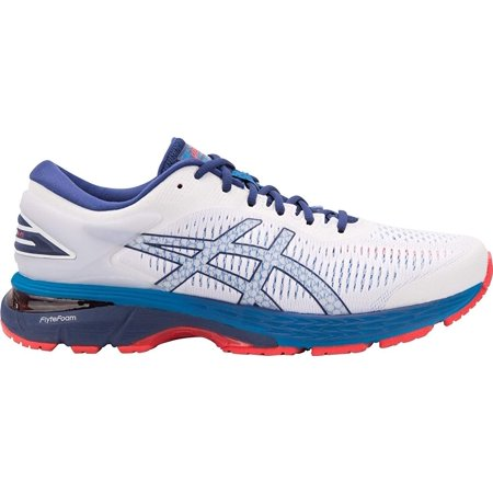 Asics 1011A019-100: Mens Gel-Kayano 25 White/Blue Print Runninig Sneakers Asics Gel Kayano Mens
