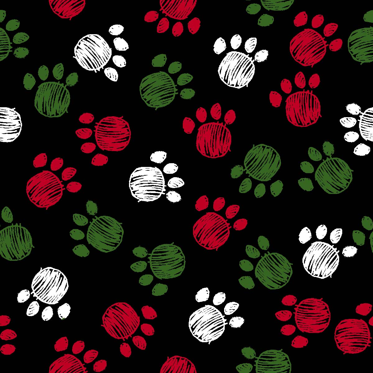 "FABRIC EDITIONS, COTTON FABRIC, FAT QUARTER 18""X21"", HOLIDAY BOWWOW PAWS"