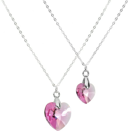 925 Sterling Silver Pink Mother Daughter Necklace Set Created with Swarovski Crystals, 18