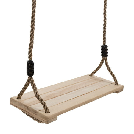 Wooden Swing, Outdoor Flat Bench Seat with Adjustable Nylon Hanging Rope for Kids Playset Frame or Tree, Backyard Swinging Toy by Hey! Play!