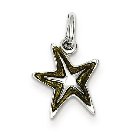 Sterling Silver Yellow Enameled Starfish Charm Pendant